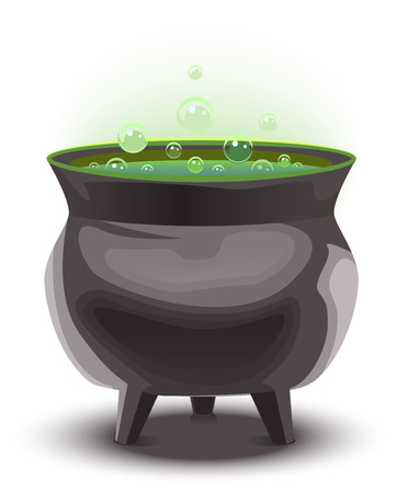 boiling pot: Green magic potion in cauldron. boiling pot. Halloween accessory object. Illustration in vector format Illustration