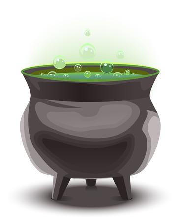 magic cauldron: Green magic potion in cauldron. boiling pot. Halloween accessory object. Illustration in vector format Illustration