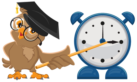 show time: Owl teacher with glasses. Owl teacher shows pointer on the clock. Alarm clock. Isolated illustration in vector format