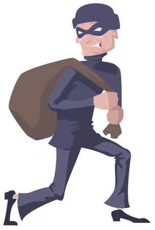 villain: Robber in a mask carries bag. Man robber. Isolated illustration in vector format