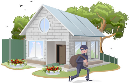 burglar alarm: Male thief robbed house. Burglaries. Property insurance. Illustration in vector format