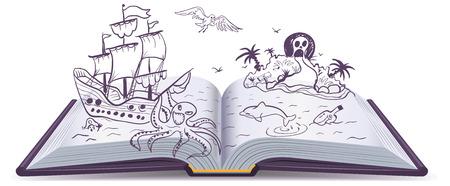 Aventura Libro abierto. Tesoros, piratas, barcos de vela, aventura. La lectura de la fantasía. Ilustración en formato vectorial Foto de archivo - 44992577