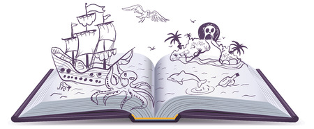 Open book Adventure. Treasures, pirates, sailing ships, adventure. Reading fantasy. Illustration in vector format Ilustracja