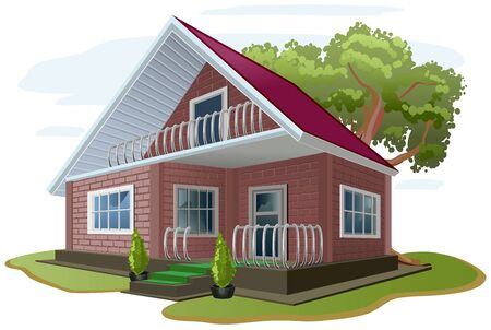 Brick house. Cottage. Vacation home. Country house. Illustration in vector format