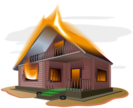 home ownership: Brick house burns. Cottage fire. Vacation home. Property insurance. Illustration in vector format