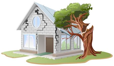 집안의 벽돌 벽에 균열. 나무가 집에 떨어졌습니다. 나무가 집에 부러졌습니다. 벡터 형식으로 일러스트 레이션