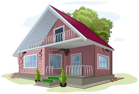 cracks: Brick cottage with cracks on walls. Red brick house error construction. Illustration in vector format