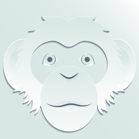 head paper: Monkey head carved out of paper. Illustration in vector format