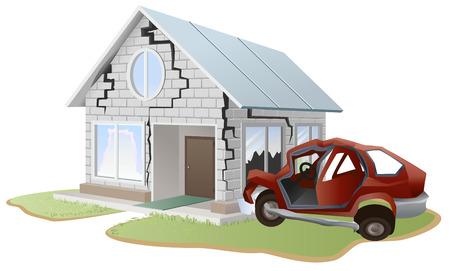 자동차 충돌. 자동차는 집에서 벽에 충돌. 재산 및 부동산 보험. 벡터 형식으로 그림