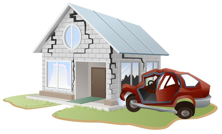 cartoon accident: Car crash. Car crashed into wall at home. Property insurance. Illustration in vector format