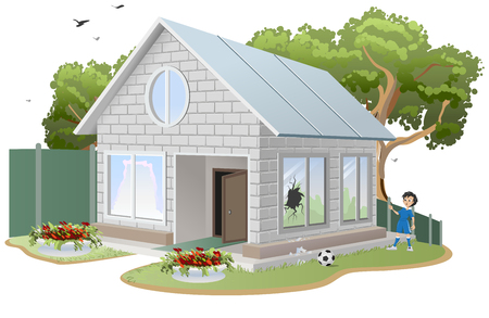 Broken window. Boy soccer player ball broke window. Property insurance Illustration in vector format