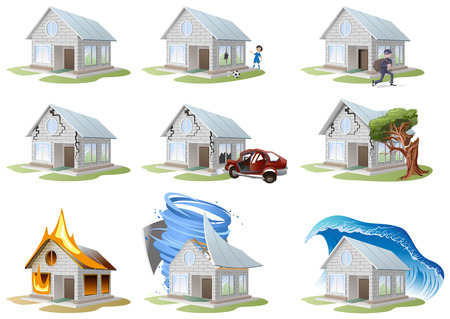 fire damage: Home insurance. Property insurance. Big set house insurance. Vector illustration concept of insurance. Illustration