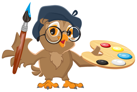 artists: Owl artist holding brush and palette. Isolated illustration in vector format