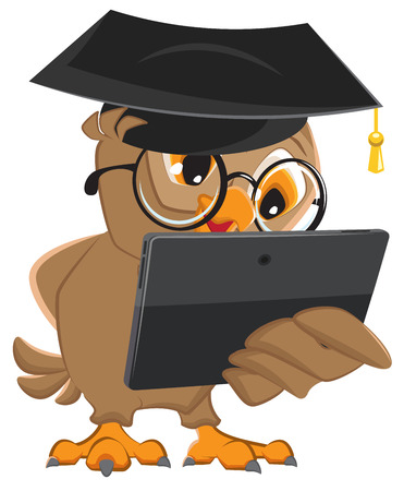 holds: Owl teacher holds tablet computer. Isolated illustration in vector format