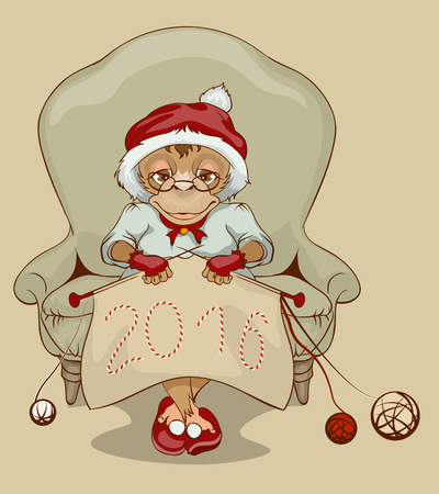 grandmamma: Christmas Monkey Santa is sitting in chair, knitting neckerchief 2016. Illustration in vector format