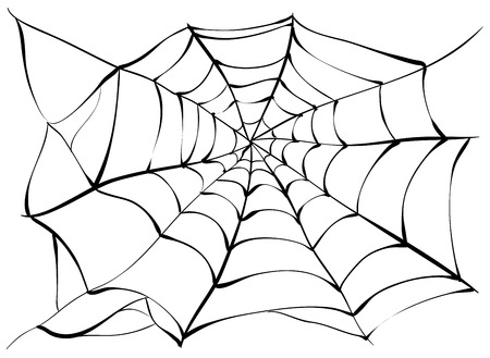 Big black spider web. Spiderweb. Illustration in vector format
