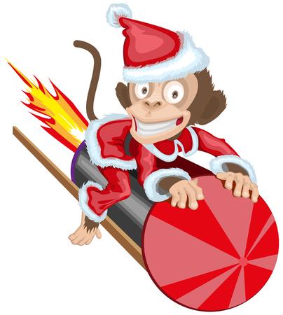 brandweer cartoon: Aap van Kerstmis de kerstman vliegen op vuurwerk raket. Aap symbool 2016 op de Chinese kalender. Geïsoleerde cartoon illustratie