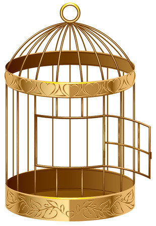 birdcage: Open gold birdcage. An empty birdcage. Isolated illustration in vector format