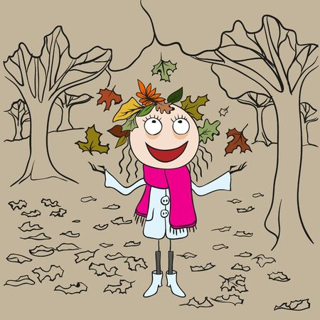 outdoor glamour: Girl in park throws autumn leaves. Autumn landscape. Cartoon illustration in vector format