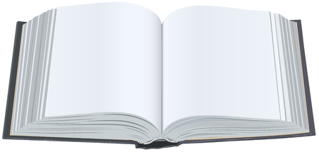 open book: Libro abierto con s�banas limpias. Abra el libro con p�ginas en blanco. Ilustraci�n aislada en formato vectorial