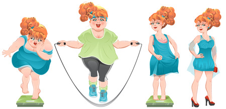 weight loss success: She lost weight. Set weight loss woman, before after. Isolated cartoon illustration