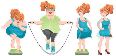 Ze verloor gewicht. Stel gewichtsverlies vrouw, voor na. Geïsoleerde cartoon illustratie