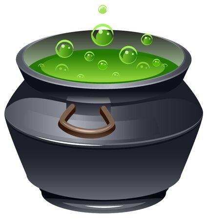 Groene toverdrank in de ketel. Kokende pot. Halloween accessoire object. Geïsoleerd op wit vector illustratie