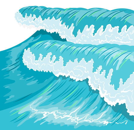 high sea: Blue high ocean wave. Surge wave. Illustration in vector format