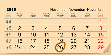 dinner date: November 26, 2015 Thanksgiving Day. Chicken leg symbol on calendar. Illustration in vector format Illustration