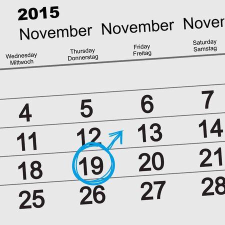masculinity: 19 November 2015 International Mens Day. Calendar reminder. Illustration in vector format Illustration