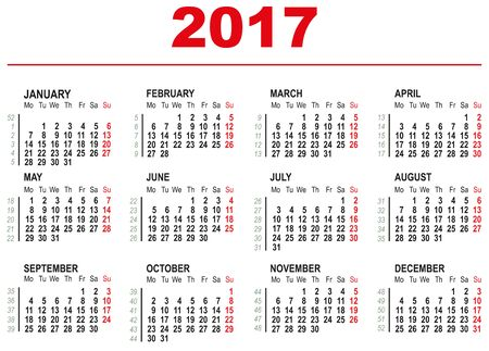 first day: 2017 Calendar template. Horizontal weeks. First day Monday. Illustration in vector format Illustration