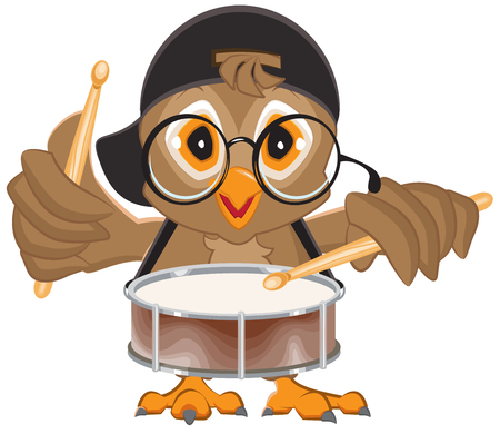 drummer: Owl drummer. Owl beats the drum. Isolated on white vector illustration