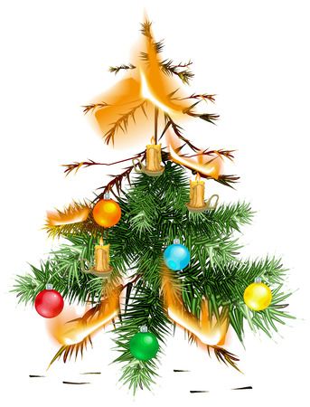 misfortune: Christmas tree lit accident. The fire disaster. Isolated on white vector illustration