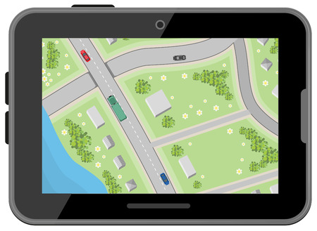 of view: Map with driving directions. Top view. Black digital tablet. Car Navigation. Illustration in vector format