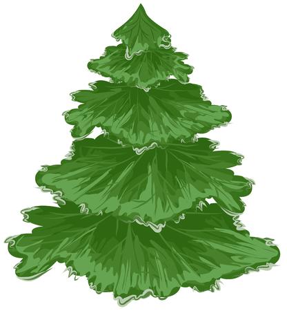 pine tree isolated: Christmas tree. Pine tree. Isolated on white vector illustration