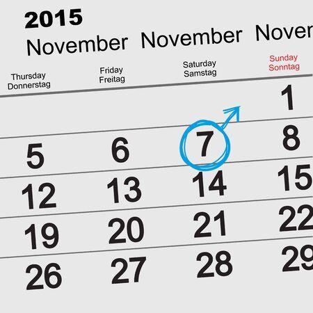 masculinity: 7 November 2015 International Mens Day. Calendar reminder. Illustration in vector format Illustration
