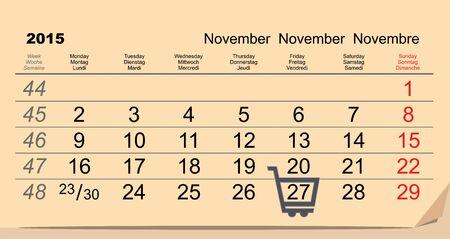 27: 27 November 2015 Black Friday Sale. Calendar. Illustration in vector format
