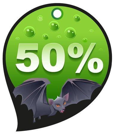 horrible: Horrible Halloween discount sale. Coupon 50 percent discount consumerism. Bat. Illustration in vector format