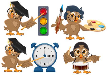 stop light: Set owl teacher. Isolated on white vector illustration