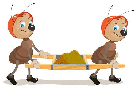 hormiga caricatura: Constructor de hormiga. Dos hormigas son camillas con arena. Ilustración en formato vectorial