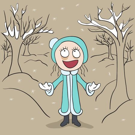 rejoices: Girl in winter park rejoices first snow. Illustration in vector format