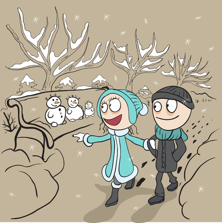 couple dating: Lovers man and woman walk in winter park. Loving couple on walk. Cartoon illustration Illustration