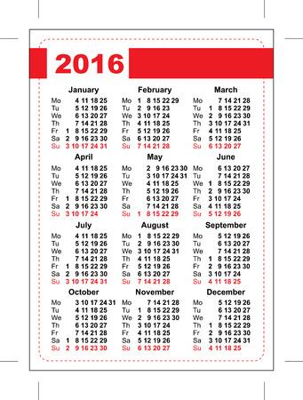 kalendarz: 2016 kieszonkowy kalendarz. Szablon siatki. Orientacji pionowej z dni tygodnia. Ilustracja w formacie wektorowym