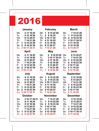 vertical orientation: 2016 pocket calendar. Template grid. Vertical orientation of days of week. Illustration in vector format Illustration