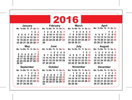 2016 Pocket Calendar. Template Grid. Horizontal Orientation Days