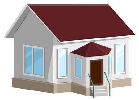 White stone house with bay window. Isolated on white vector illustration Stock Illustratie