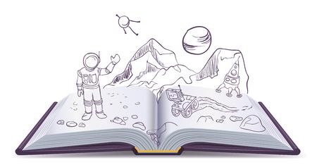 personas leyendo: Abrir el libro de Marte. Ciencia ficci�n espacio. Ilustraci�n en formato vectorial
