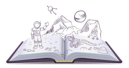 fiction: Open book Martian. Science Fiction space. Illustration in vector format
