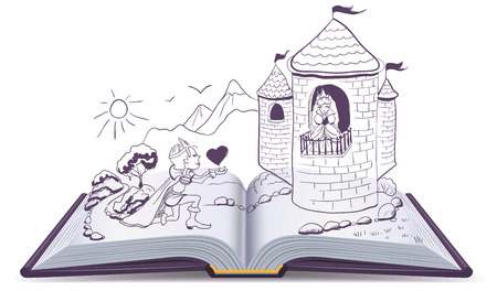 princesa: Knight está de rodillas delante de la princesa en el castillo. Libro abierto. Ilustración en formato vectorial