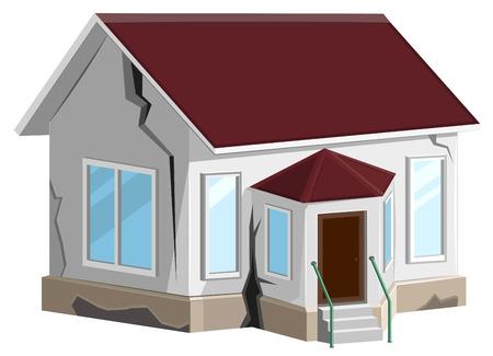 家が破壊されました。家の壁に亀裂。財産保険。エラーの構築。白いベクトル図に分離
